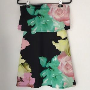ASOS Tropical Print Ruffled Strapless Mini Dress